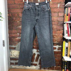 Zara High Waist Black Wash Boyfriend Jeans Size 10